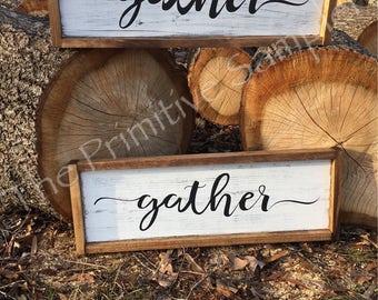 Framed Gather Sign| Framed Sign |Farmhouse Decor | Shabby Chic | Farmhouse Look | Gallery Wall | Gather Sign | Framed Gather
