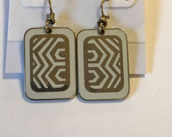 Laurel Burch White and Gold Geometric Earrings