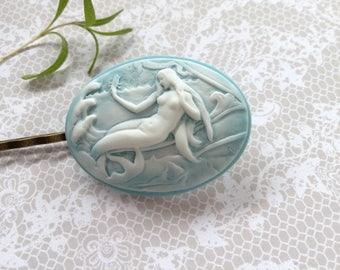 Mermaid Blue And White Reclining Mermaid Hair Clip