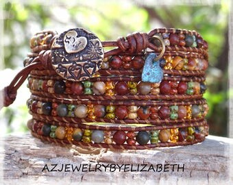 Gemstone Leather Wrap Bracelet/ Five Wrap Bracelet Handcrafted With Picasso Jasper And Seed Beads/ Beaded Leather Bracelet / Boho Bracelet**