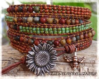 Beaded Wrap Bracelet/ Gemstone Wrap Bracelet/ Seed Bead Leather Wrap Bracelet/ Seed Bead Jewelry/  Beautiful Gift For Her/Gemstone Jewelry.