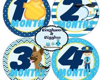 Monthly Baby Milestone Police Stickers Baby Shower Gift. Milestone stickers, monthly stickers, police stickers, police baby shower