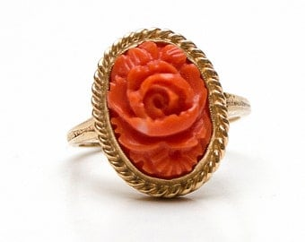 Carved coral rose ring