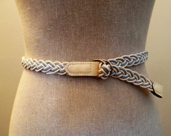 Powder Blue and Cream Braided Belt with Matching Cream finish on end of belt and Silver Belt Buckle and Adjustable No Notches in Size XLG