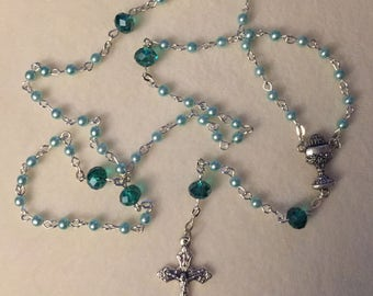 First Communion Rosary - Mint & Emerald