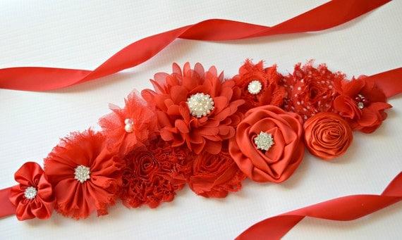 Red Sash, long sash #3, Christmas Sash, red  flower Belt, maternity sash, red flower belt, valentine sash