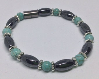 Magnetic Therapy Bracelet, Turquoise Gemstone (dyed howlite) and Magnetic Hematite Bracelet, Men's or Women's Magnetic Bracelet