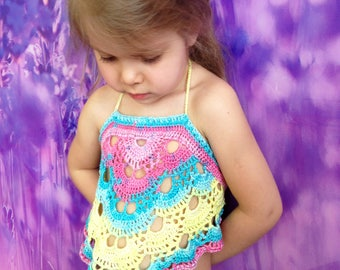 Toddler crop top/ Swing back top/ Festival crochet top/ Rainbow halter top/ Crochet baby girls top/ Crochet lace top/ Cropped bohemia top