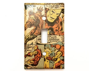 Superhero Toggle Switch Wall Plate Cover- Custom Comic Book Wall Plate - Superhero Toggle Switch Plate - Geek Home Decor