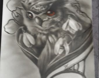 Airbrush OWL on paper