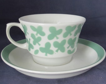 Arabia of Finland, Green Lehti coffee cup and saucer.