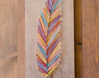 Feather String Art, Multi-Color, Wood Home Decor, Rustic Wood Art, Nature Art