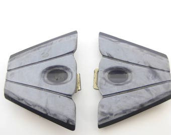 Vintage Art Deco Grey Lucite Plastic Buckle
