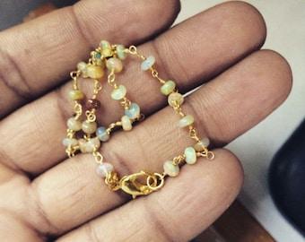 Natural Ethiopian Welo Opal Rosary Style Bracelet, Ethiopian Opal Beads bracelet 3 M.M. Gold/Silver/rose gold Chain welo opal bracelets