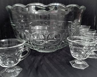 Concord by Indiana Glass Punch Bowl Set Clear Glass with Circles, 8 Footed Matching Cups and Ladle 10 Piece Set