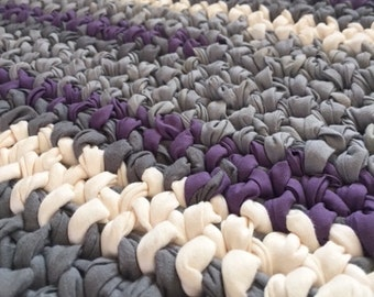 Rag rug: rectangle, purple, grey, cream