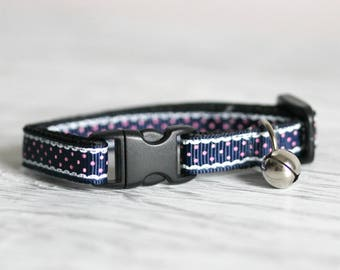 Dark Blue Cat Collar Blue Collar Breakaway Cat Collar Elegant Cat Collar with Bell Buckle Cat Collar Blue Pink Collar  Breakaway Buckle Cat