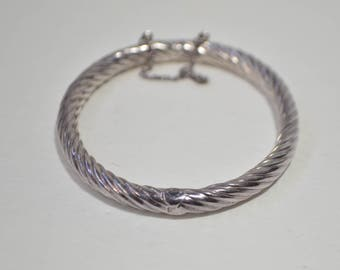 Vintage Sterling Silver 925 Braided Twisted Rope Hinged Chain Bangle Bracelet