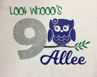 Owl birthday shirt, girl owl shirt, custom name personalized, cute owl shirt, birthday outfit