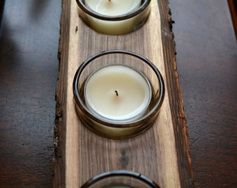 Upcycled Black Walnut Candle Holders - for tea lights or votive candles - Includes unscented tea lights