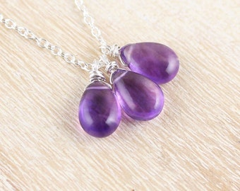 Amethyst Necklace in Sterling Silver, 14Kt Gold or Rose Gold Filled. Gemstone Cluster Pendant. Wire Wrapped Bead Necklace. Purple Jewellery