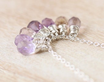 Ametrine Cluster Necklace. Pendant in Sterling Silver, Gold or Rose Gold Filled. Wire Wrapped Gemstone Necklace. Beaded Necklace. Jewellery