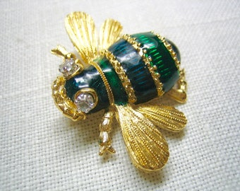 D'Orlan Enamel Rhinestone Eyes Flying Bug Brooch