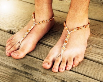 Jasper Barefoot Sandals Men, Foot Jewelry, Men Bare Sole Sandals, Men Beach Shoes, Men Sandals, Soleless Footwear Men, Hemp Sandals