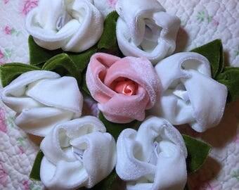 Velvet Roses Appliques LOT of 7  - Handmade - *Gorgeous* #5  FREE SHIPPING