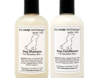 Natural Dog Shampoo & Conditioner 2 Piece Set, Dog Shampoo, Dog Conditioner, Dog Grooming, Pet Grooming, Puppy Grooming, The Soap Exchange