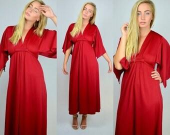 Allison   Small Medium   1970s Vintage Red Bohemian Wide Sleeve Dress 70s Maxi