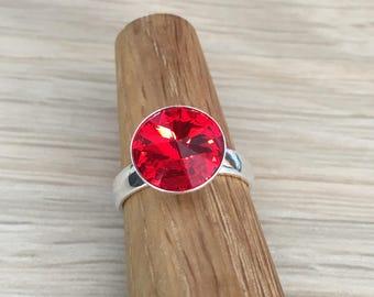 Sterling silver & Swarovski rivoli adjustable ring