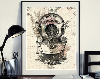 Vintage Map of North America Diving scuba diver Ocean Seaside Nautical Poster Instant Download Printable A4 A3 8×10 & 11x14 Wall HQ300dpi