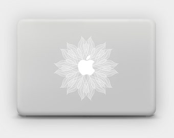Transparent White Ink Sticker Decal for MacBook or Laptop - Lace Flower