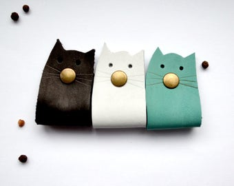 cat cord holder cord organizer earbud holder cat leather cable holder earbud organizer cat lover gift