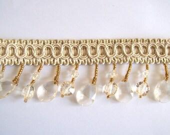 Beaded trim glass bead trim beige trim 4cm wide 30cm long