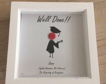 Graduation button box frame