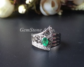 Wing--Natural Emerald Wide Band Ring 925 Sterling Silver Ring  May Birthstone