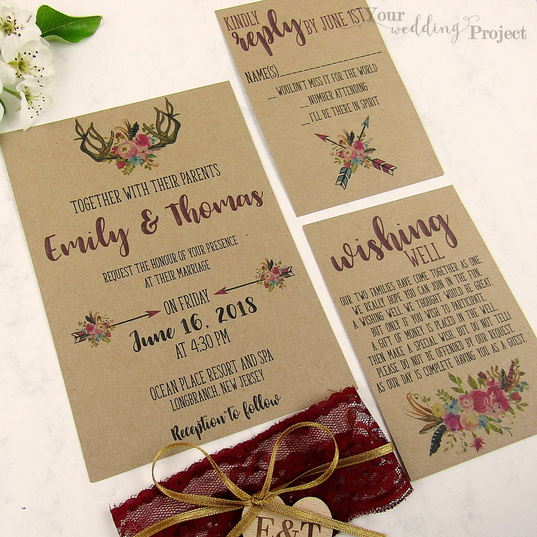 boho wedding invitation set with lace