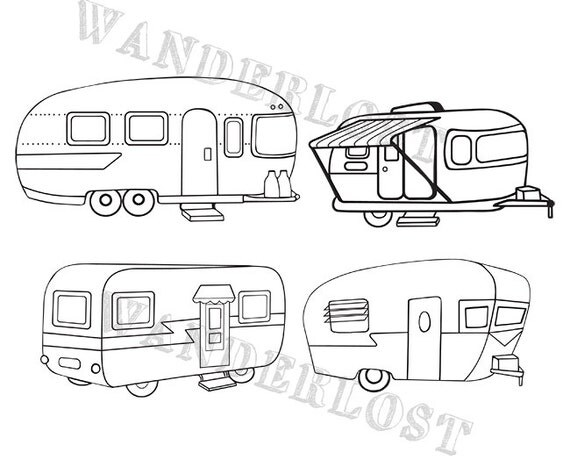 Vintage Campers Airstream Shasta Trailer Clip Art Vector Graphic PNG Black And White Color Variations Instant Download From WanderlostDesign On Etsy