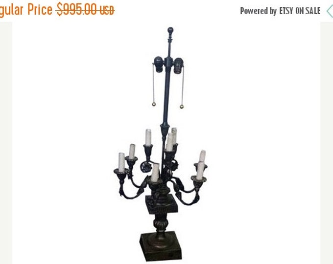 Storewide 25% Off SALE Vintage Hollywood Regency Markoff Bro Marbro Candelabra Lamp Featuring Pivoting Sockets and Original Wax Residue on E