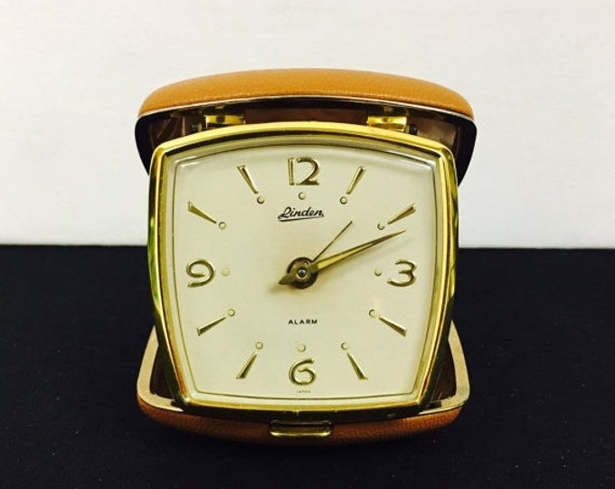 Storewide 25% Off SALE Vintage Linden Gold Tone Bedside Mechanical Travel Alarm Clock Featuring White Face Dial With Gold Tone Hour Markings