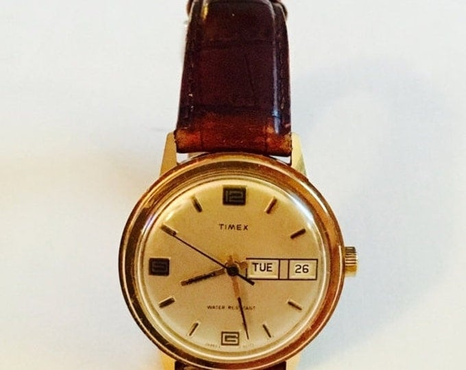 Storewide 25% Off SALE Vintage Men's Gold Tone Timex Mechanical Date Mark Wristwatch Featuring Brown Leather Band