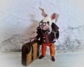 Needle felt rabbit , Art Doll , Needle Felting Animal , Felt Bunny , Handmade Bunny , Miniature Doll , Wool Rabbit , Rabbit Doll , Felt doll