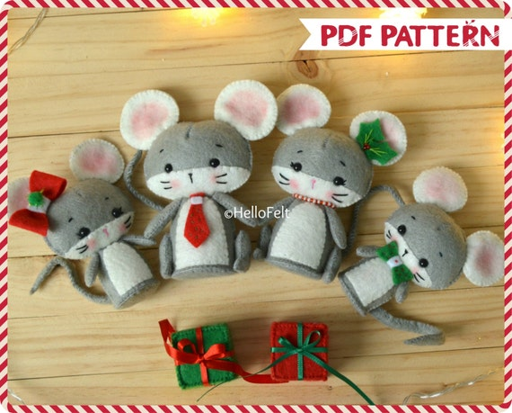 Pdf Pattern Christmas Mouse Family Felt Sewing Pattern