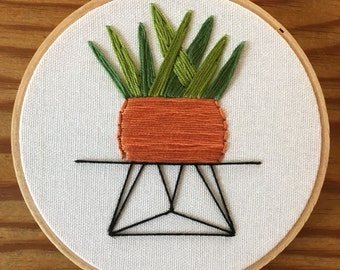 Succulent in wire stand embroidery wire stand , succulent , pot plant , hoop art terracotta pot cactus