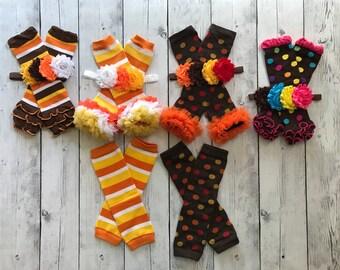 Ready to Ship Fall Autumn Thanksgiving Halloween Candy Corn Chiffon Ruffled Leg Warmers Leggings Legwarmers Baby Infant Girls