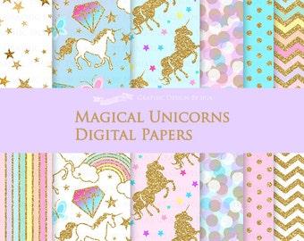 Magical Unicorns / Gold Glitter Unicorns / Einhorn / Unicorn Digital Paper Pack - Instant Download - DP145