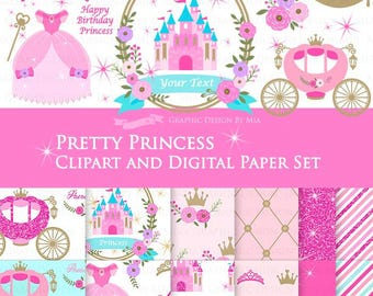 20% off  Princess Pink Clip Art + Digital Paper Set / Pretty Princess Pink / Pink Glitter / Princess Birthday  Party- Instant Download