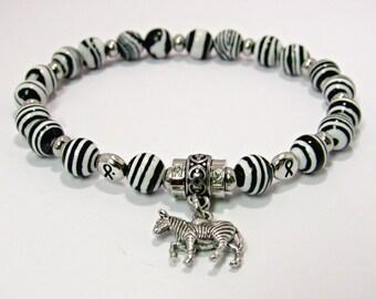 Neuroendocrine Cancer Awareness Bracelet, Carcinoid Awareness Bracelet,  Zebra Charm Bracelet, Carcinoid Syndrome Bracelet, Zebra Jasper